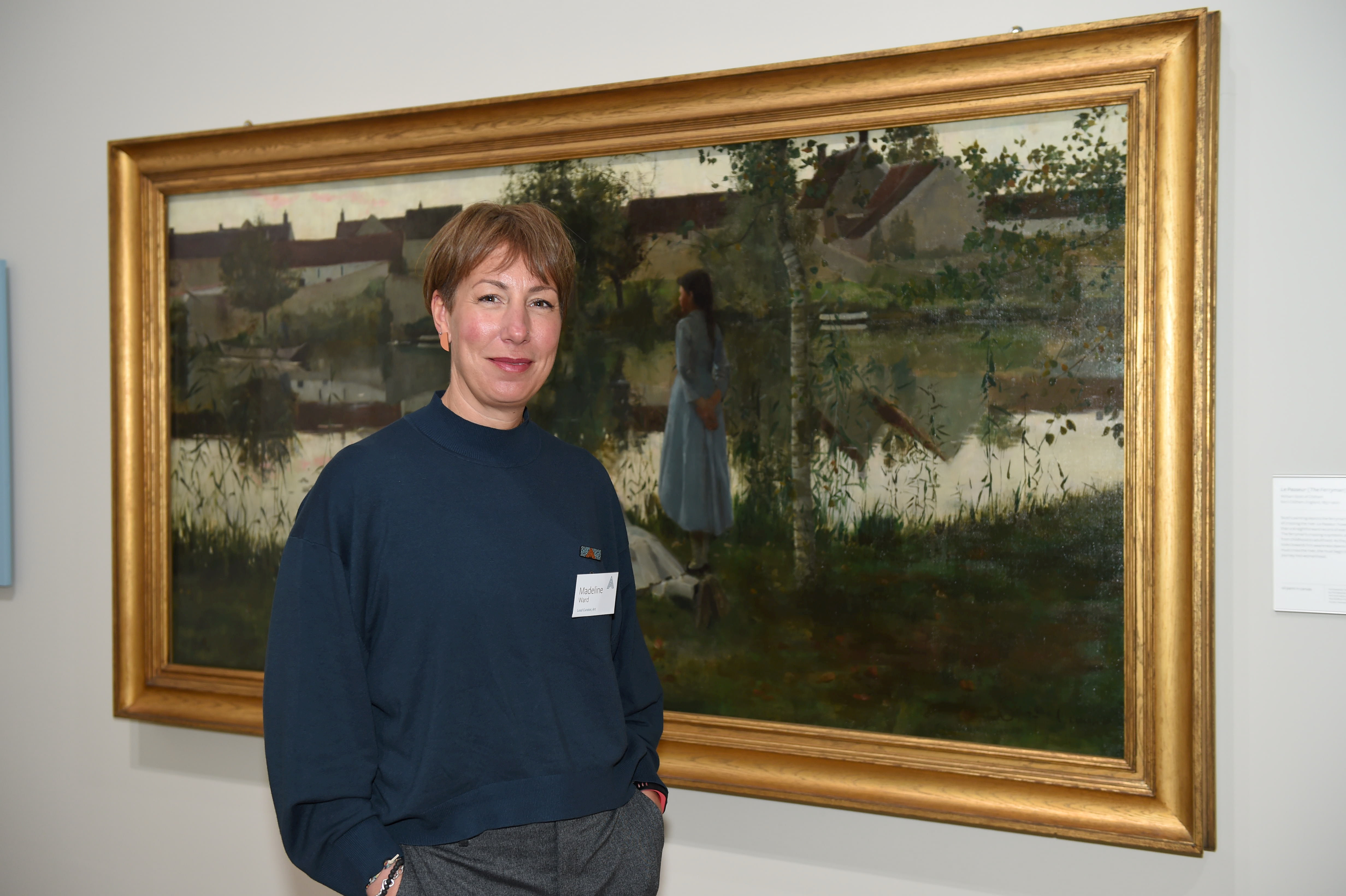 Madeline Ward, lead art curator, with Le Passeur (The Ferryman).