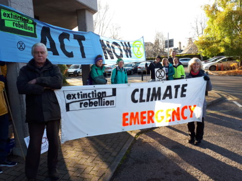 Extinction Rebellion at the Highland Council HQ.