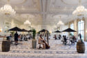 The French-style ballroom replete with huge chandeliers at Trump Turnberry