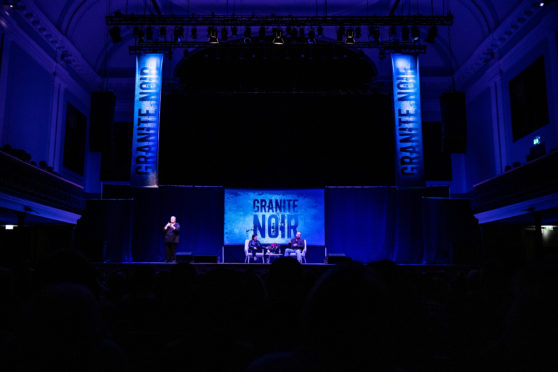 Granite Noir 2019. Saturday 23rd events and authors. Stuart MacBride and Susan Coaman discussion at The Aberdeen Music Hall