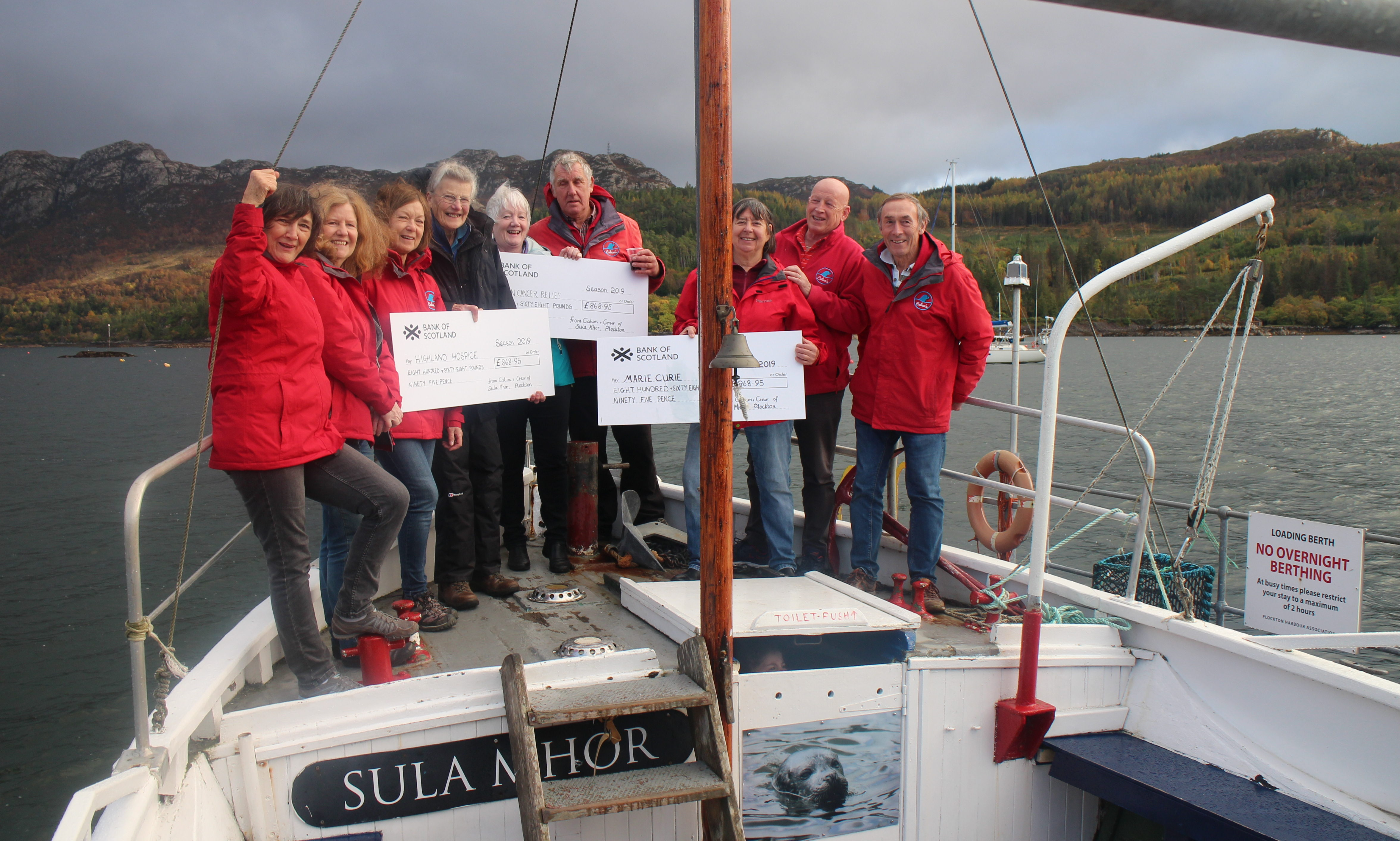 Calum's Seal Trips gives tips to three charities.