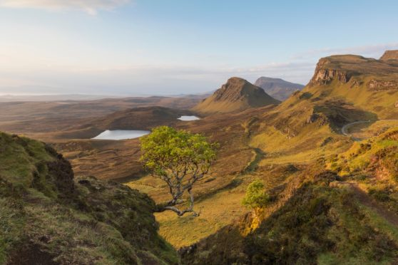 A view of the Quiraing on the Isle of Skye, at sunrise