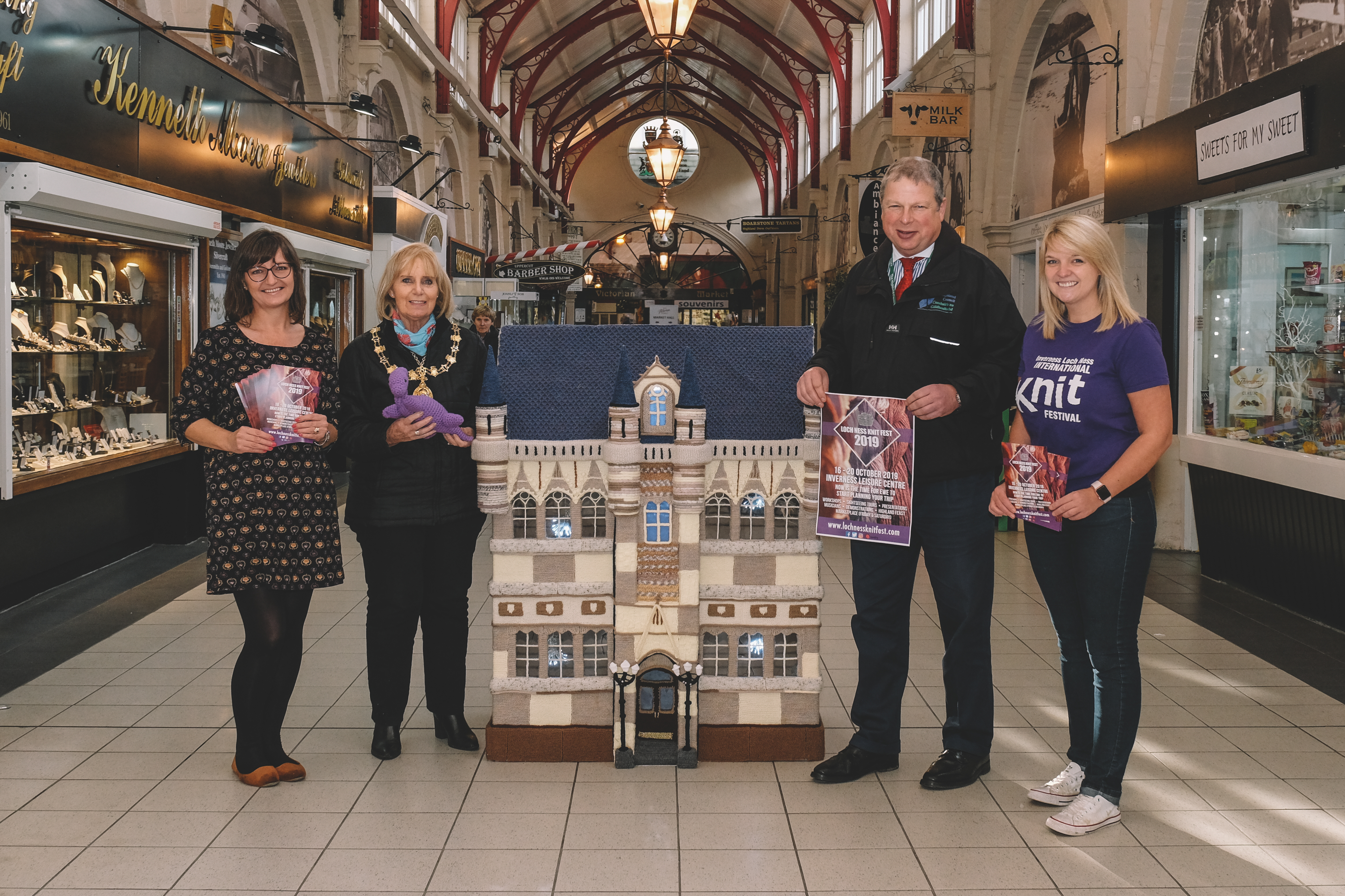 Jo Murray of Inverness Victorian Market,  and Provost Helen Carmichael pictured alongside the masterpiece with David Haas, Inverness City Manager and festival organiser Cecilia Grigor.