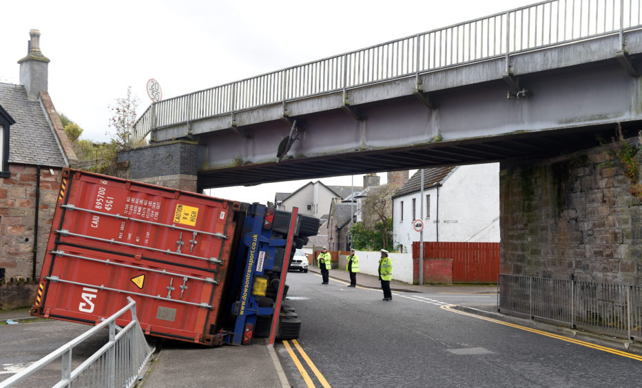 An overturned lorry on Thornbush Road, Inverness.