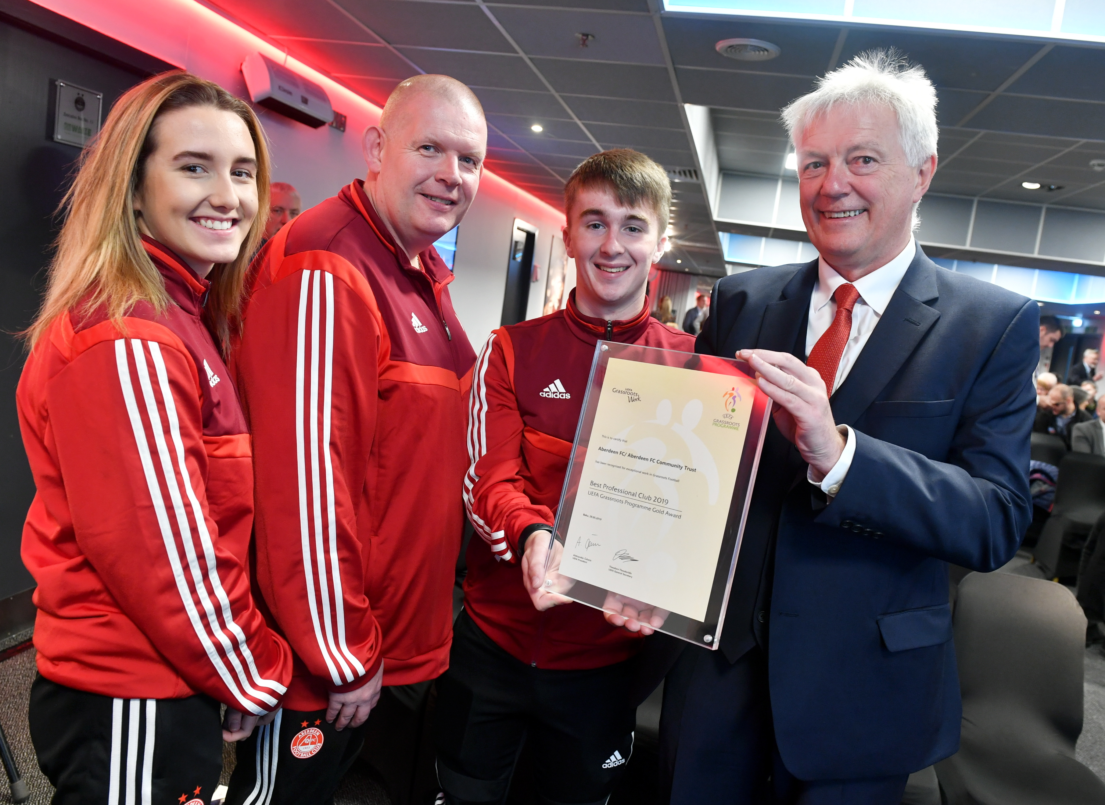 Duncan Skinner right, was chairman of the AFCCT. He is pictured with volunteers from left, Jenna McDonald, Stephen Harvey and Paul Davidson.