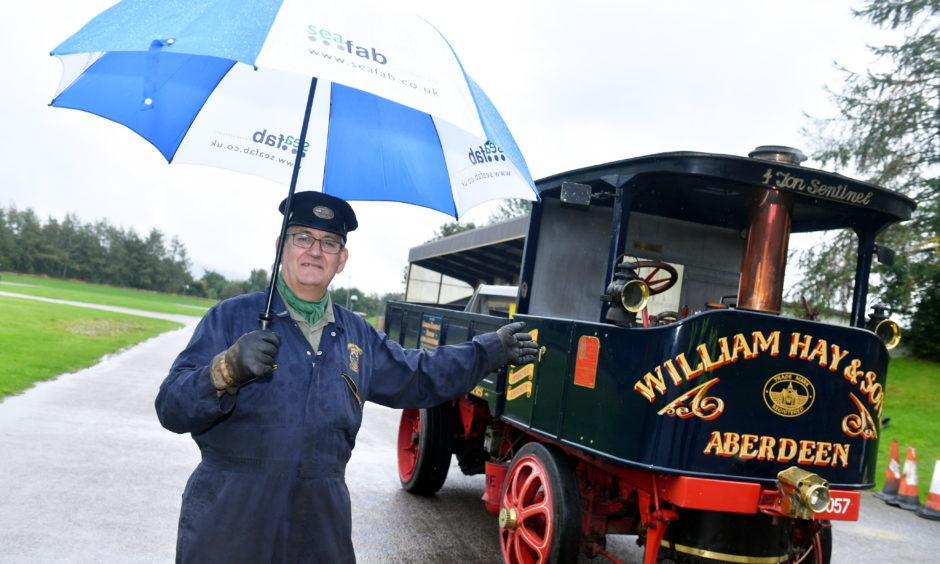 CR0014953 Steam Engine day at Grampian Transport Museum. Welcome aboard, as Hugh Tatton welcomes people pn board The 4 ton Sentinel steam wagon. Pic by...............Chris Sumner Taken..............6/10/19