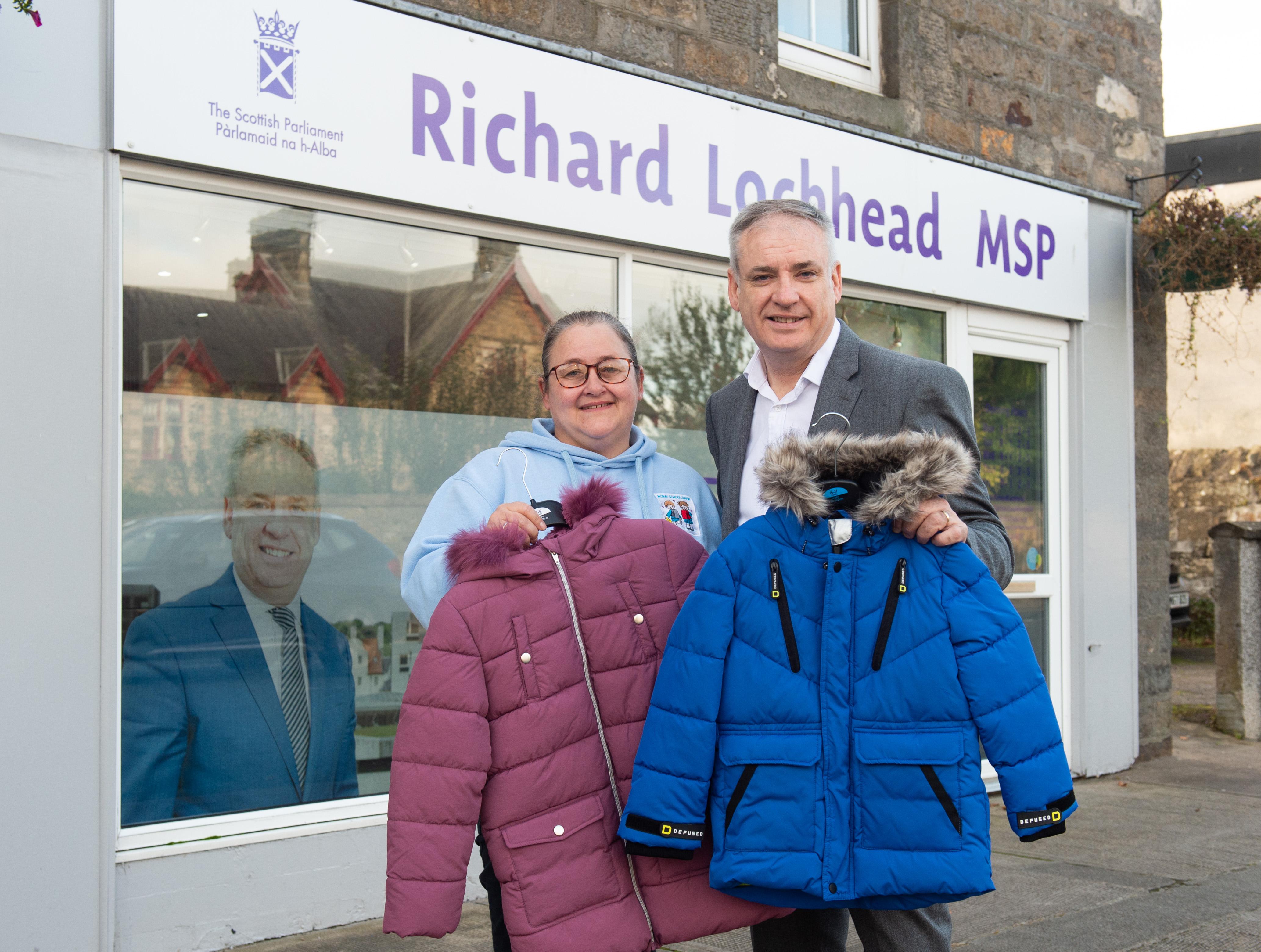 MSP Richard Lochhead and Debi Weir Founder of Moray School Bank.