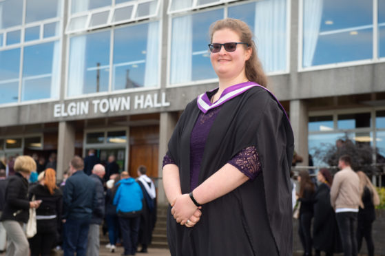 Rebecca Poyner pictured outside Elgin Town Hall.