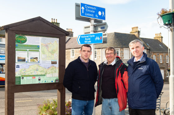 Moray MP Douglas Ross, Cullen Community Council member Stan Slater and Keith and Cullen councillor Donald Gatt.