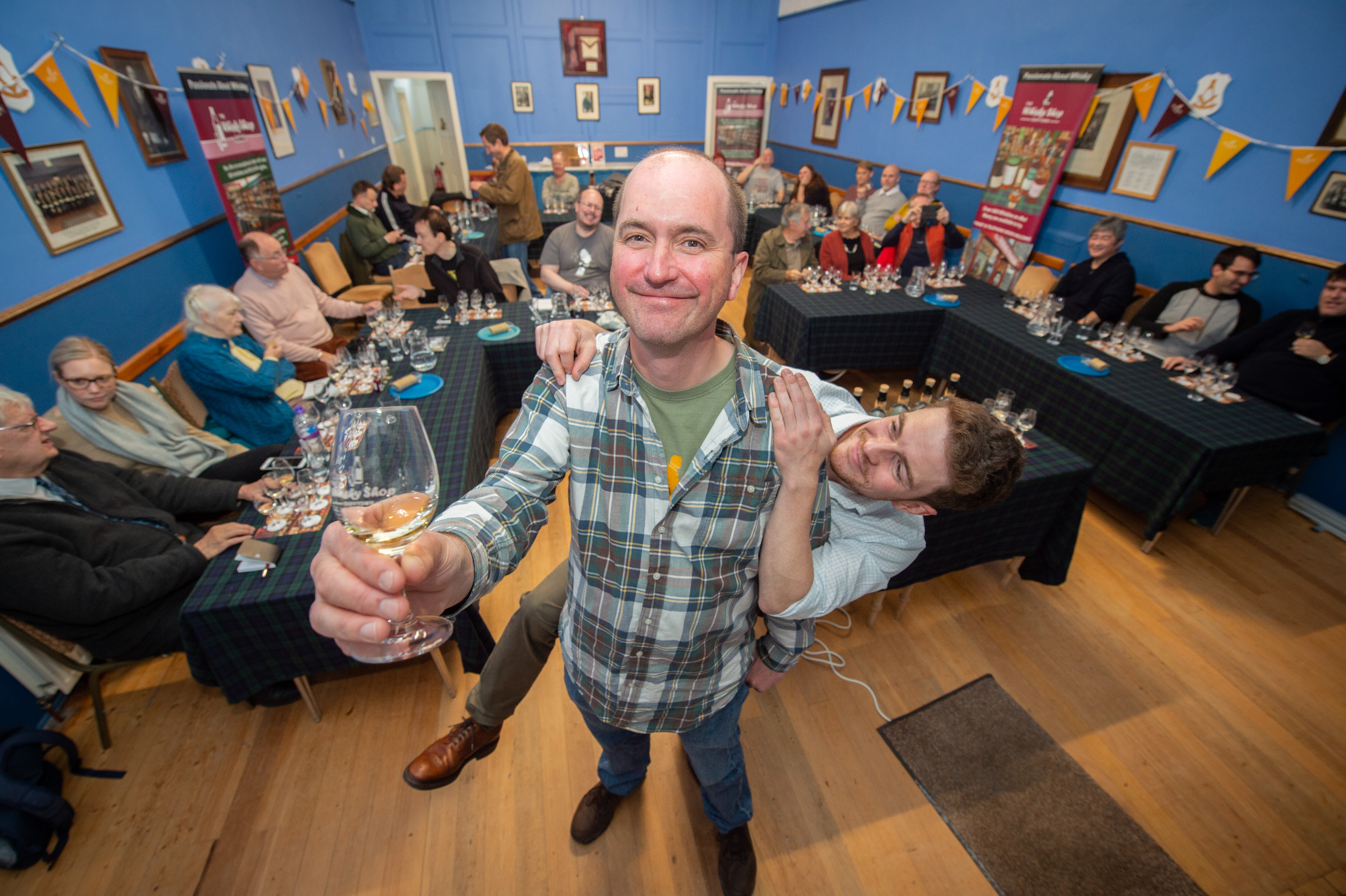 Mike Lord, owner of Dufftown's Whisky Shop, pictured front, who devised the Whisky Colours Festival, and assistant reserve spirits manager Jonny McMillan. Picture by Jason Hedges.