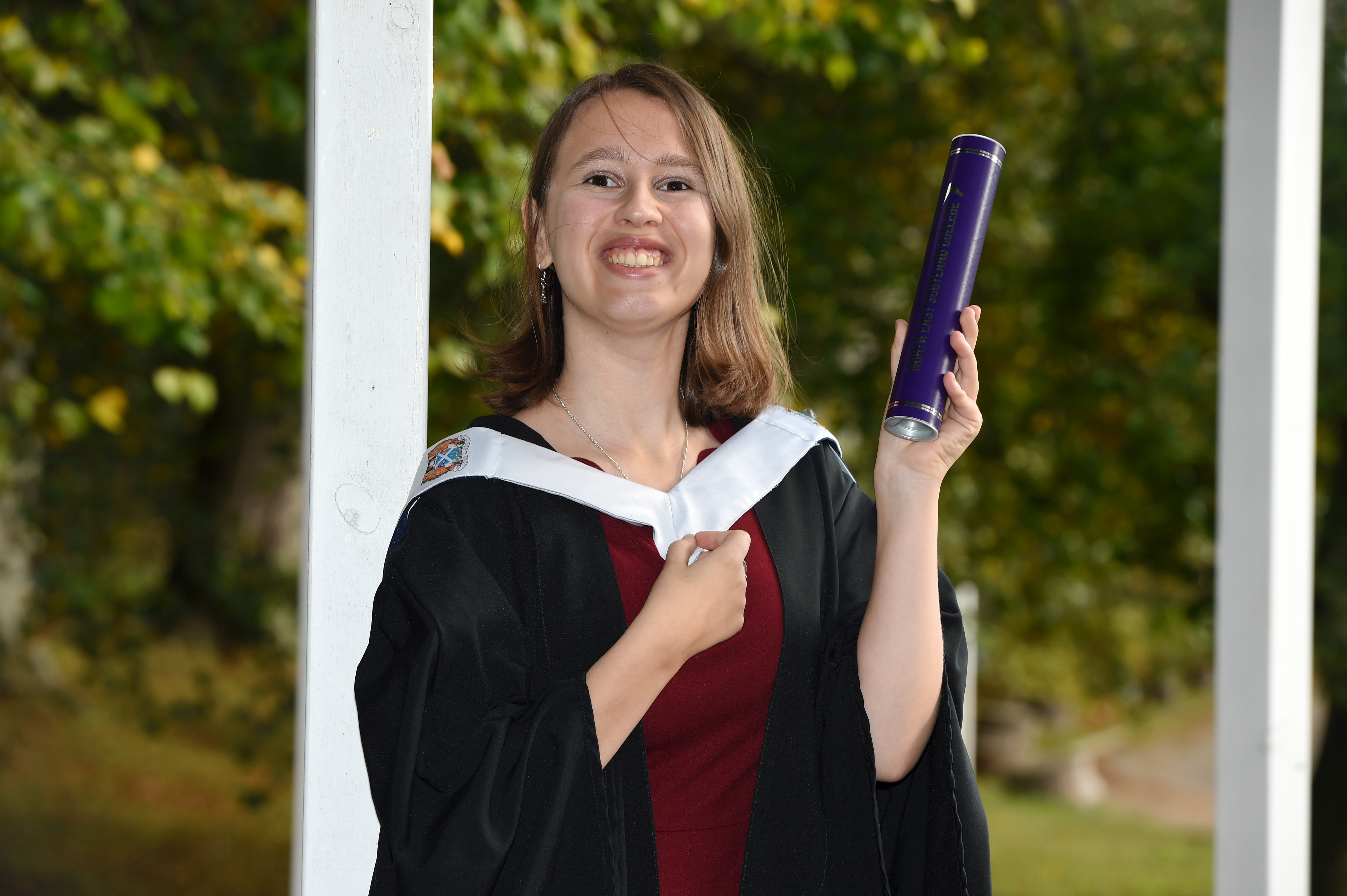 CR0014499 North East Scotland College (NESC) Graduation 2019 at Aberdeen treetops Hotel, Aberdeen. Picture of Alix Jamieson from Aberdeen.  Picture by KENNY ELRICK     09/10/2019