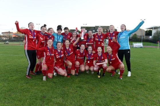 Aberdeen FC Women celebrate their unbeaten title success last term.