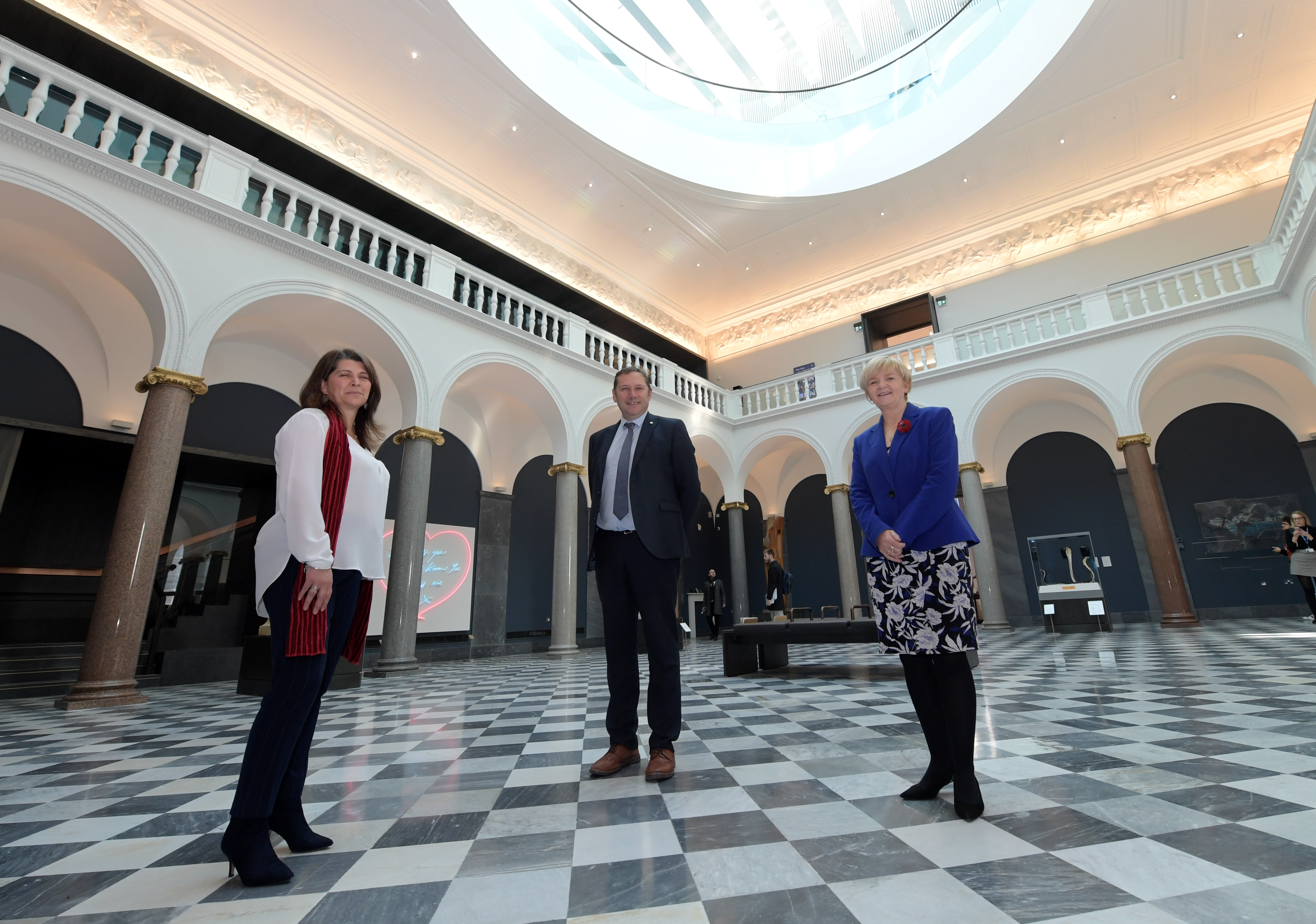 Culture spokesperson Marie Boulton with Aberdeen City Council Co-Leaders Douglas Lumsden and Jenny Laing in the redeveloped Aberdeen Art Gallery.