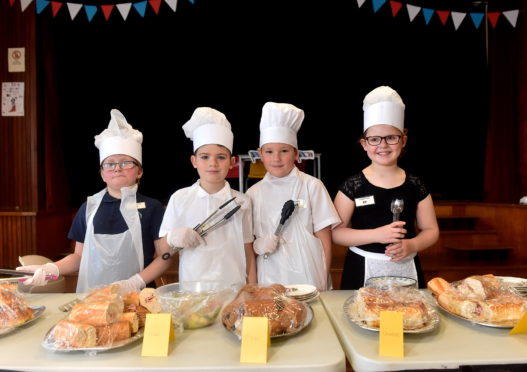CR0015076  Monquhitter School are hosting their annual French Cafe.  Pictured are chefs Antony Chaffe, Logan Raeburn, Saul Wilson and Aimee Howitt.   Picture by Scott Baxter    09/10/2019