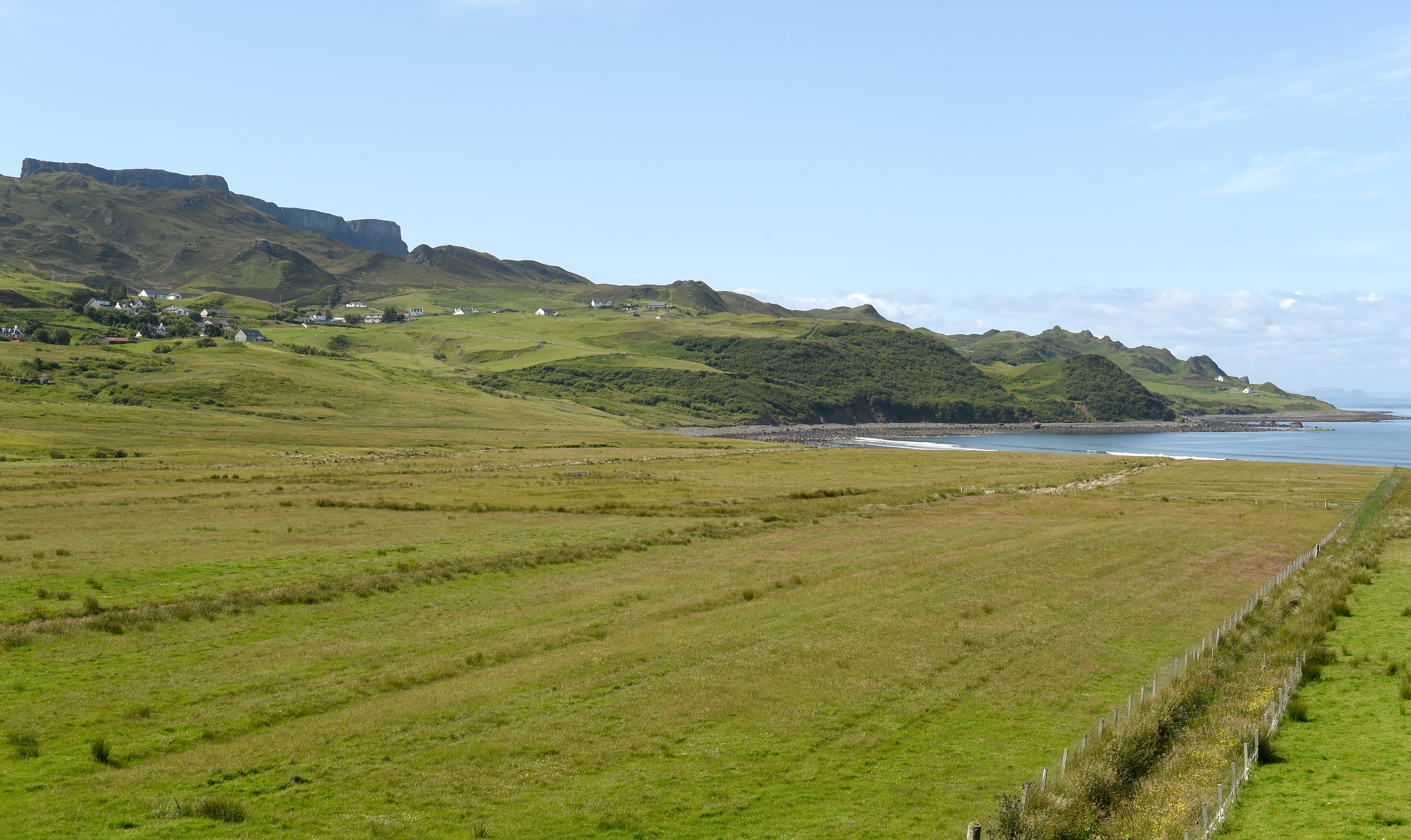 Glashvin and Digg in Staffin with the hills of the Quiraing behind.