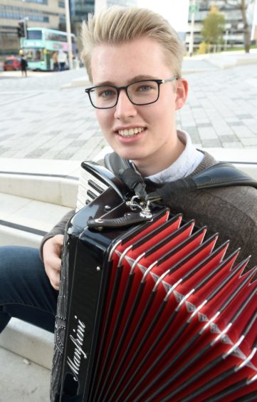 Duncan MacPherson Ritchie of Aberdeen, a winner in the under 19 accordion competitions. Picture by Sandy McCook