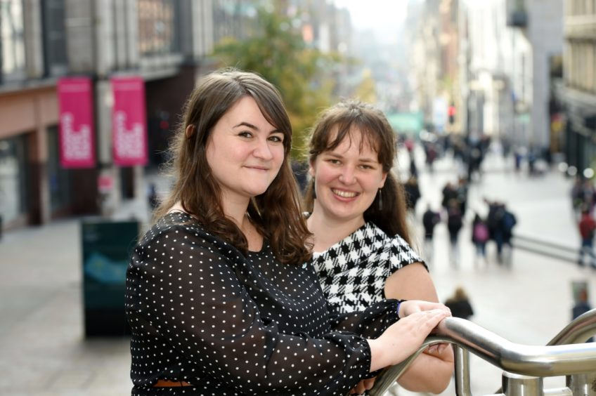Shona MacMillan (left) and Mira Byrne launch the Luach Festival in Lewis to take place on the island next year. Picture by Sandy McCook.