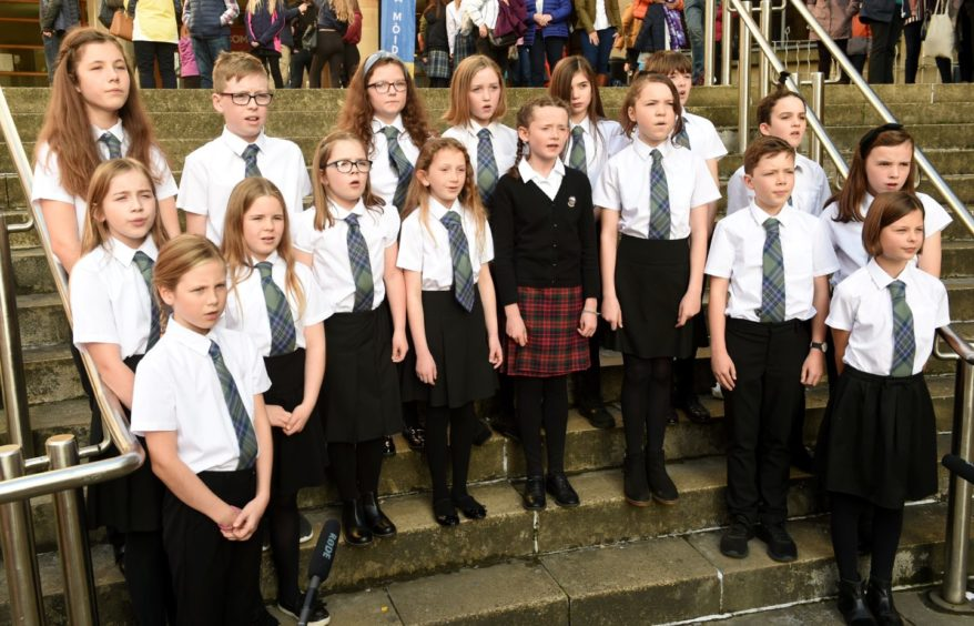 Practicing before their performance, the Inverness Gaelic School choir. Picture by Sandy McCook.