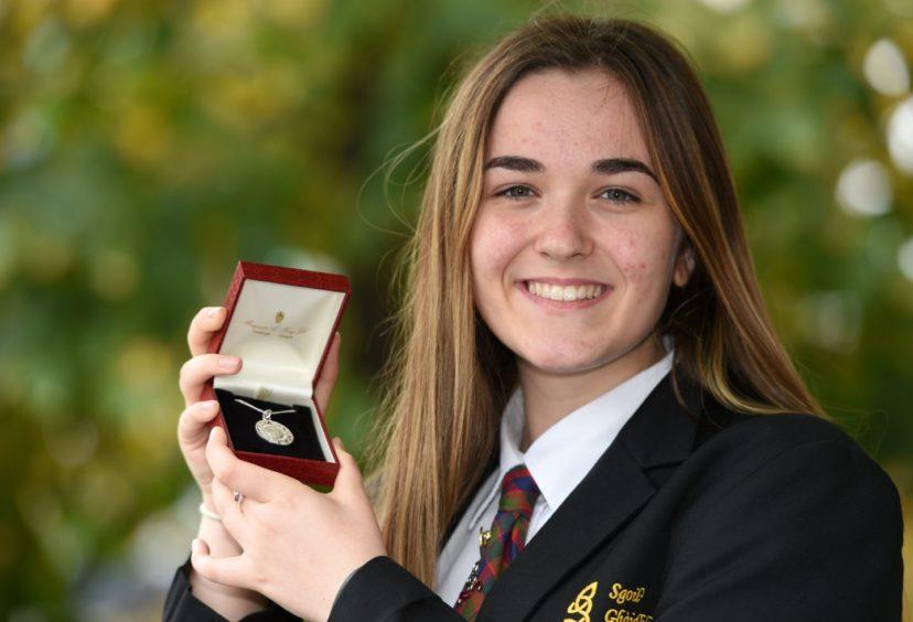 Rhianna Boyle of Sgoil Ghaidhlig Ghlaschu, winner of the Traditional Silver Medal for singing in the traditional manner in the 13-15 age group. Picture by Sandy McCook.
