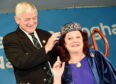 Picture by SANDY McCOOK    16th October '19 Royal national Mod, Glasgow 2019 (Wednesday) Sandy Macdonald-Jones is crowned as the new Royal National Mod Bard by President Allan Campbell.