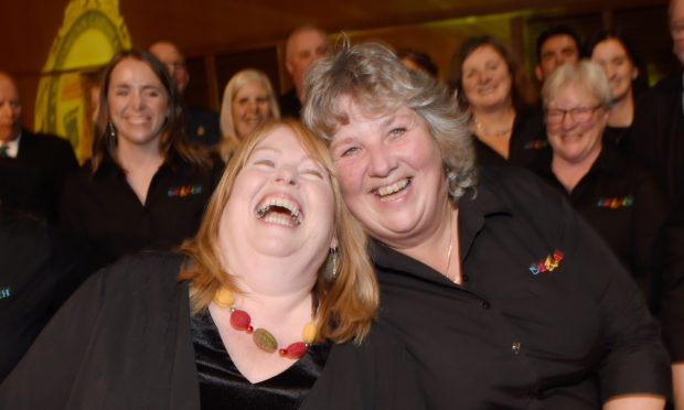 Conductors Avril Allan of Back Gaelic Choir on Lewis (left) and Rhiona Whyte of Burach.