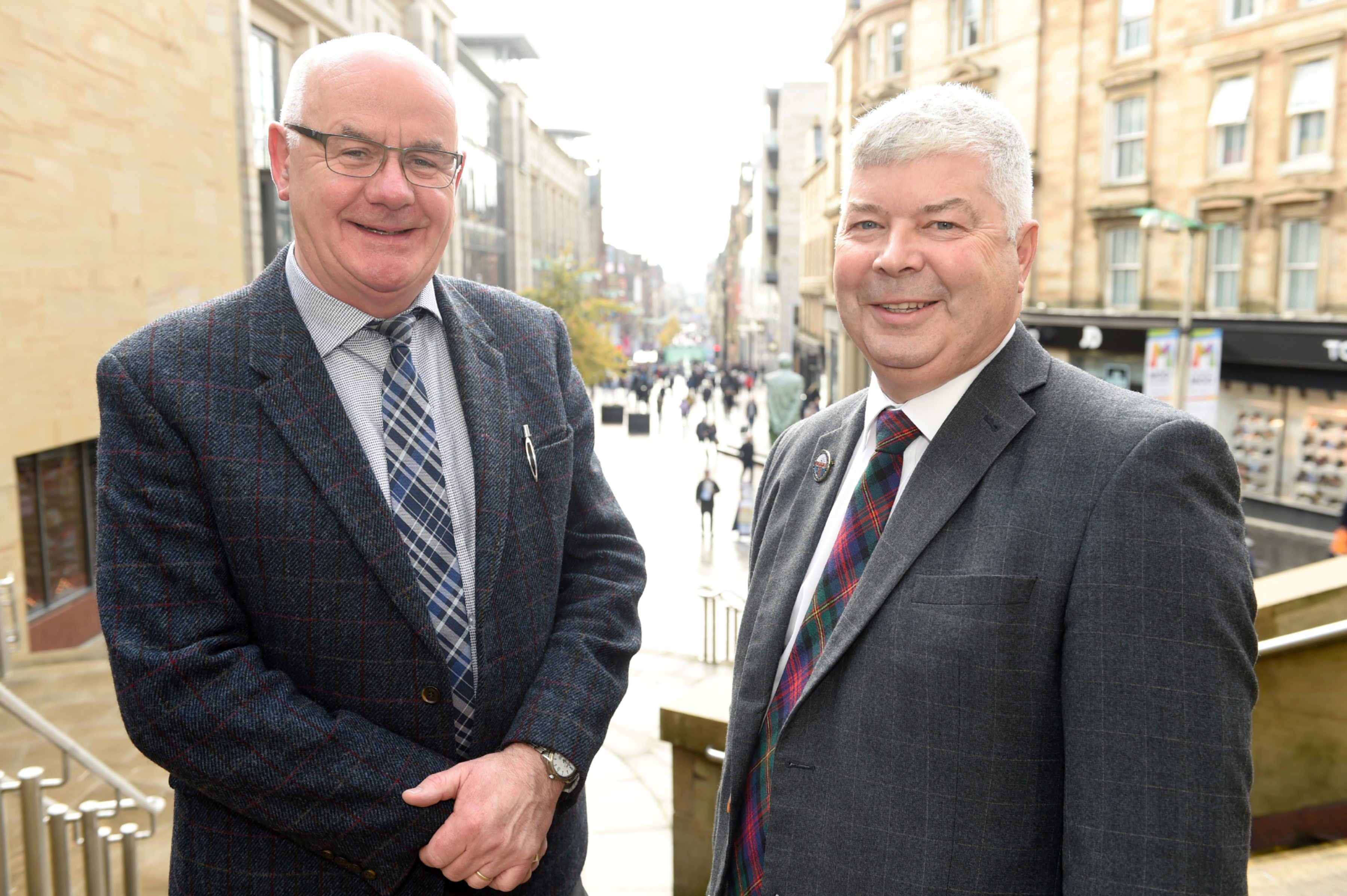 Alister Mackinnon of Highland Council (left) and Alisdair Barnett, Chairman of the local organising committee for next year's Royal National Mod in Inverness.  Picture by Sandy McCook.
