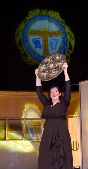 Sileas Sinclair, Conductor of the Oban Gaelic Choir, winners of the Lovat and Tullibardine Shield for Area Choirs. Picture by Sandy McCook.