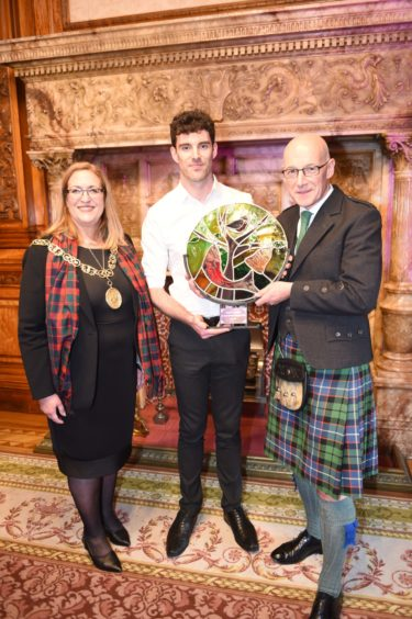 The Lord Provost of Glasgow, Eva Bolander. Alisdair Whyte, Gaelic Ambassador of the Year and  John Swinney Deputy First Minister of Scotland Picture by Sandy McCook