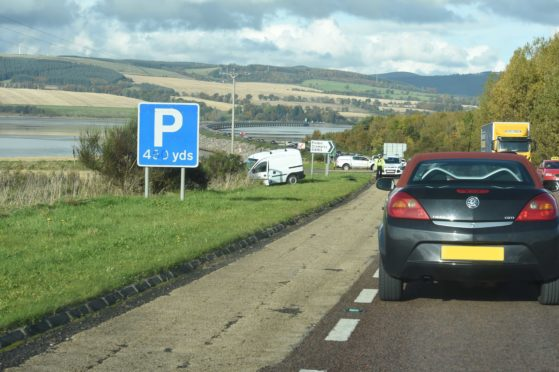 The scene of the collision on the Cromarty Bridge.