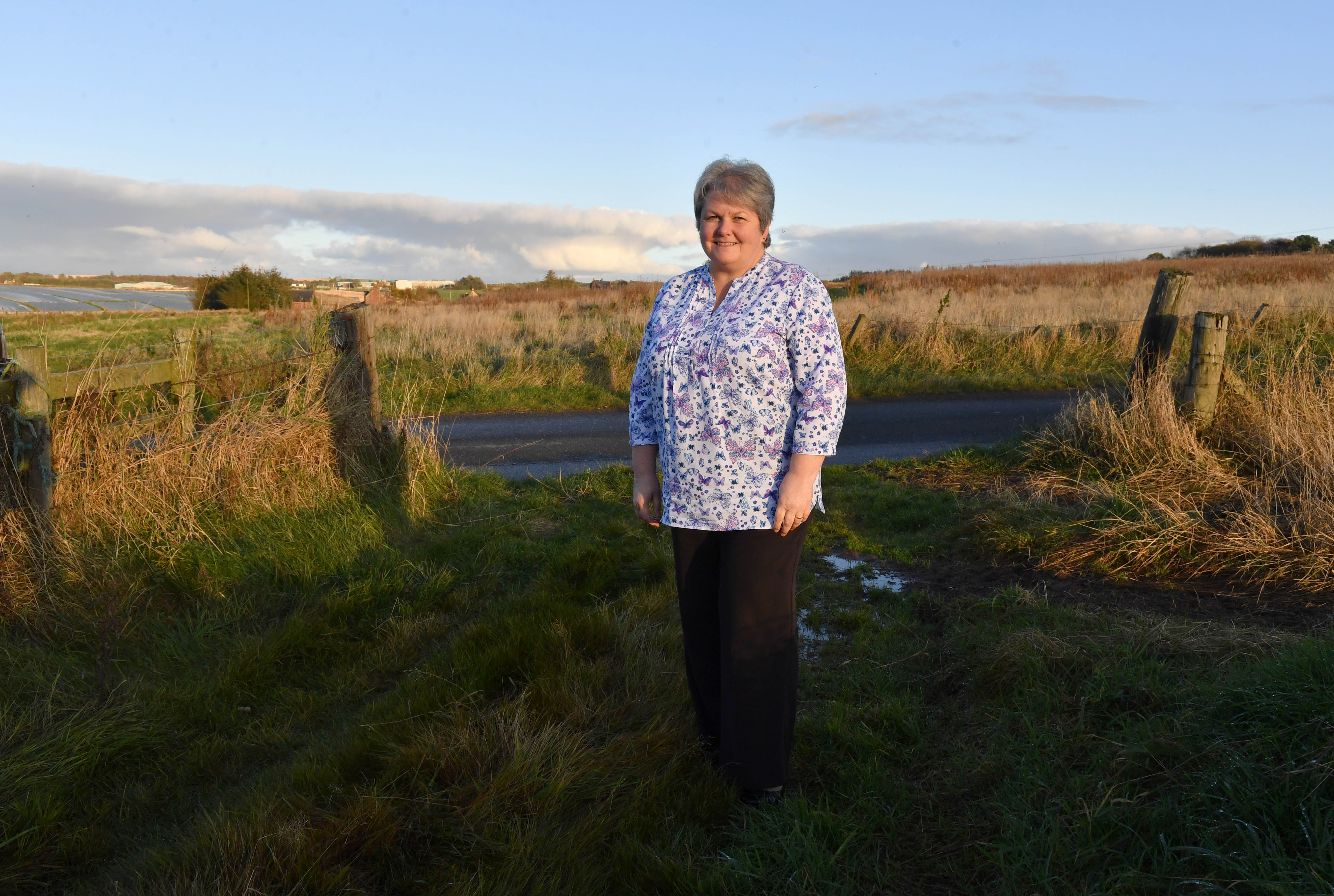 Councillor Anne Stirling outside the new cemetery site in Turriff.