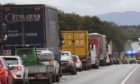 Traffic building on the A96 where the crash took place.