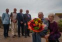 L-R: Councillor Gordon Cowie, Councillor George Alexander, Councillor James Allan, Councillor John Divers Ron Shepherd and his wife Dorothy Shepherd.