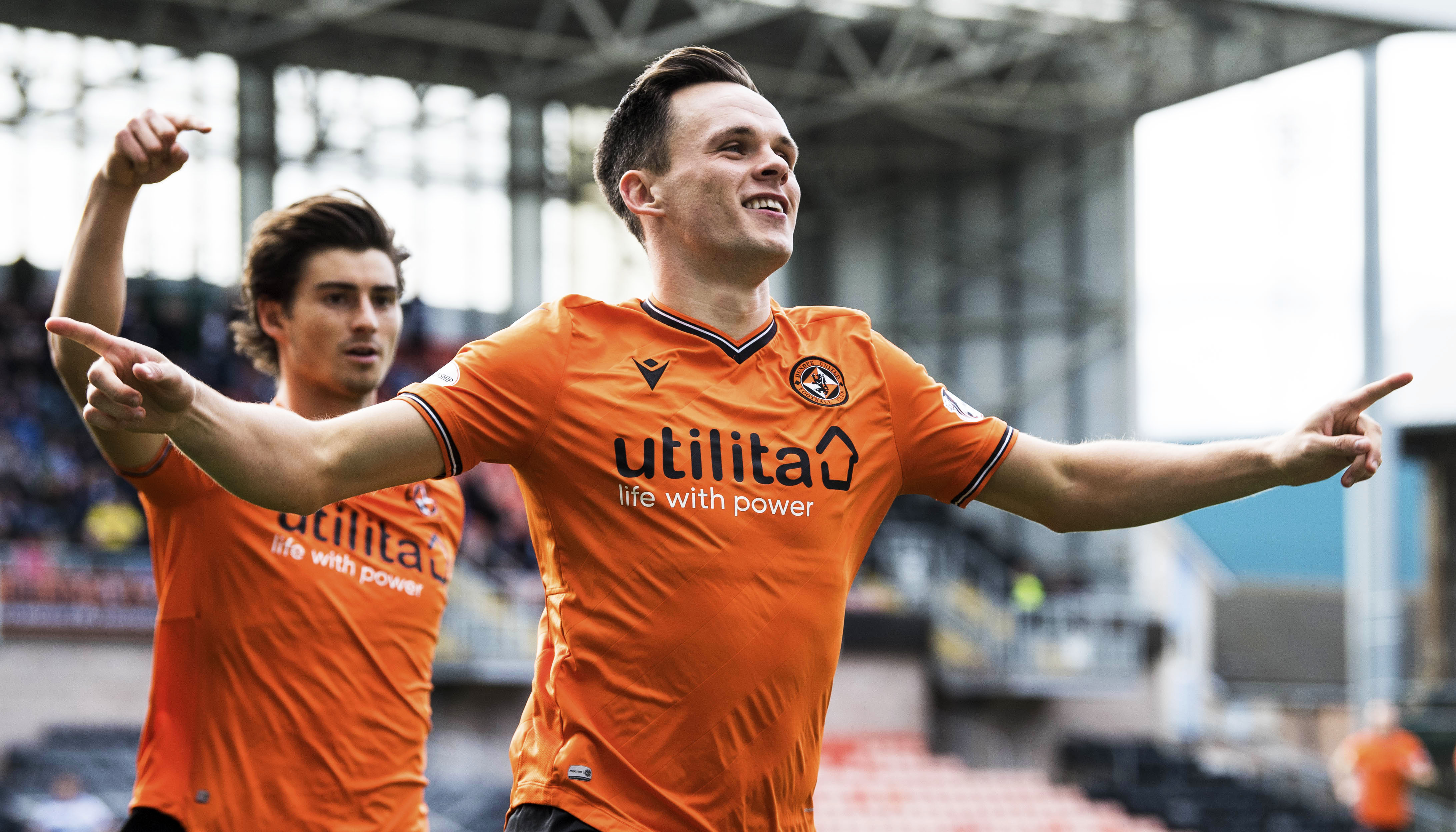 Lawrence Shankland celebrates scoring during the Ladbrokes Championship match between Dundee United and Greenock Morton at Tannadice Stadium, on September 28. (Photo by Ross Parker / SNS Group)