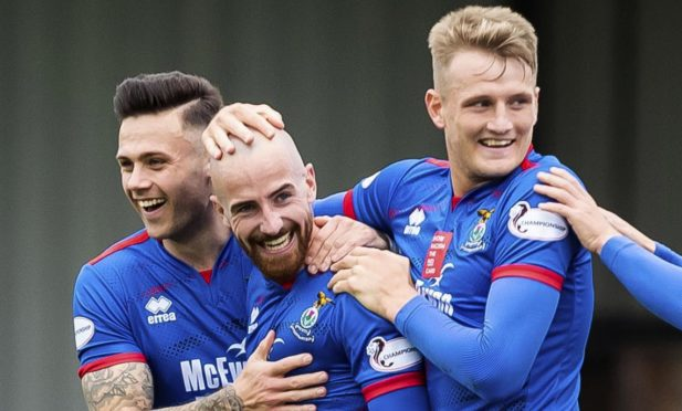 James Vincent (Centre) celebrates scoring during the Ladbrokes Championship match between Ayr United and Inverness CT, at Somerset Park