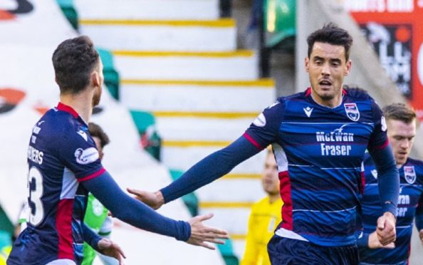 Ross County's Brian Graham celebrates after scoring to make it 2-1 during the Ladbrokes Premiership match between Hibernian and Ross County