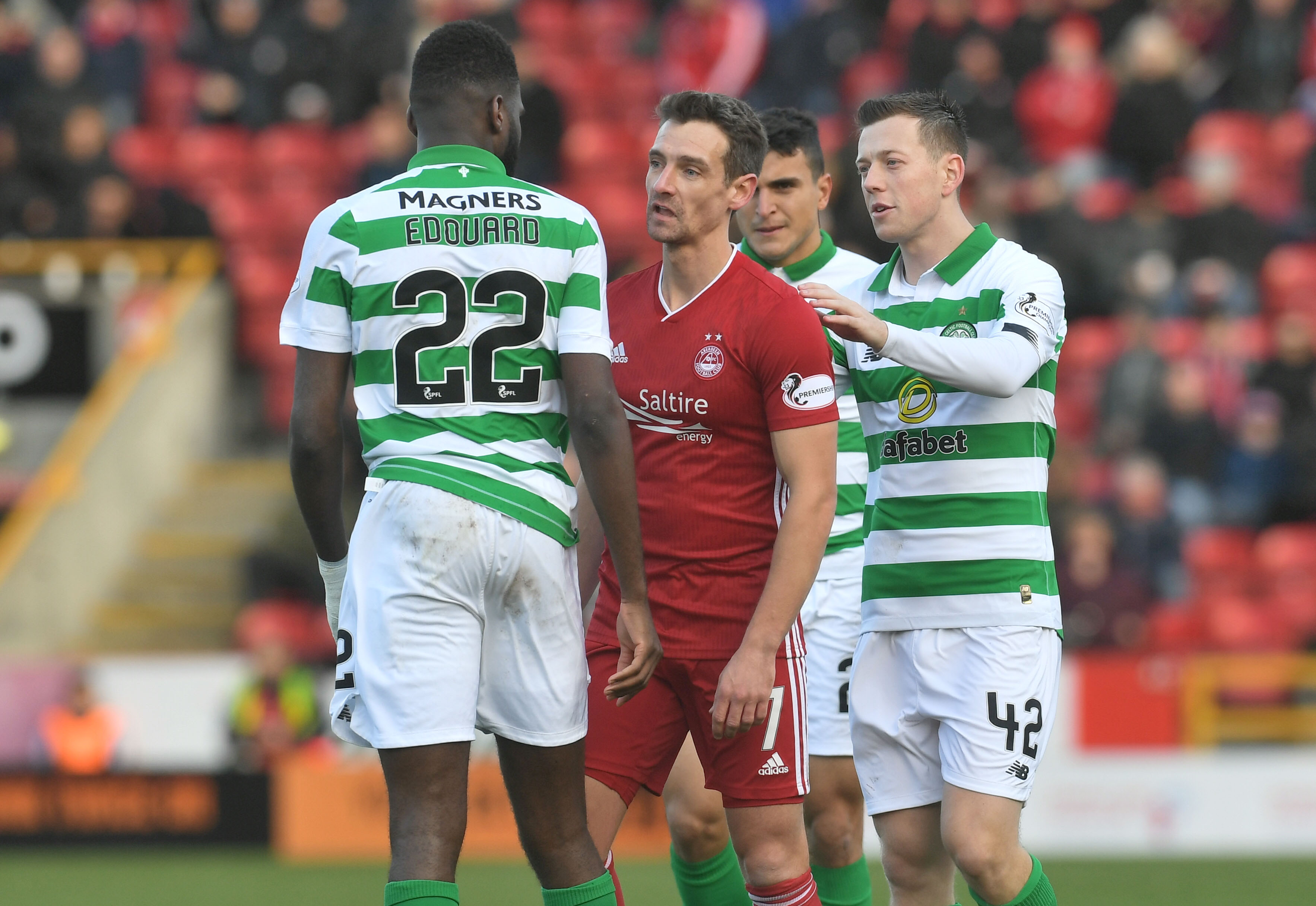 Celtic's Odsonne Edouard, left, exchanges words with Craig Bryson during the Ladbrokes Premiership match between Aberdeen and Celtic.