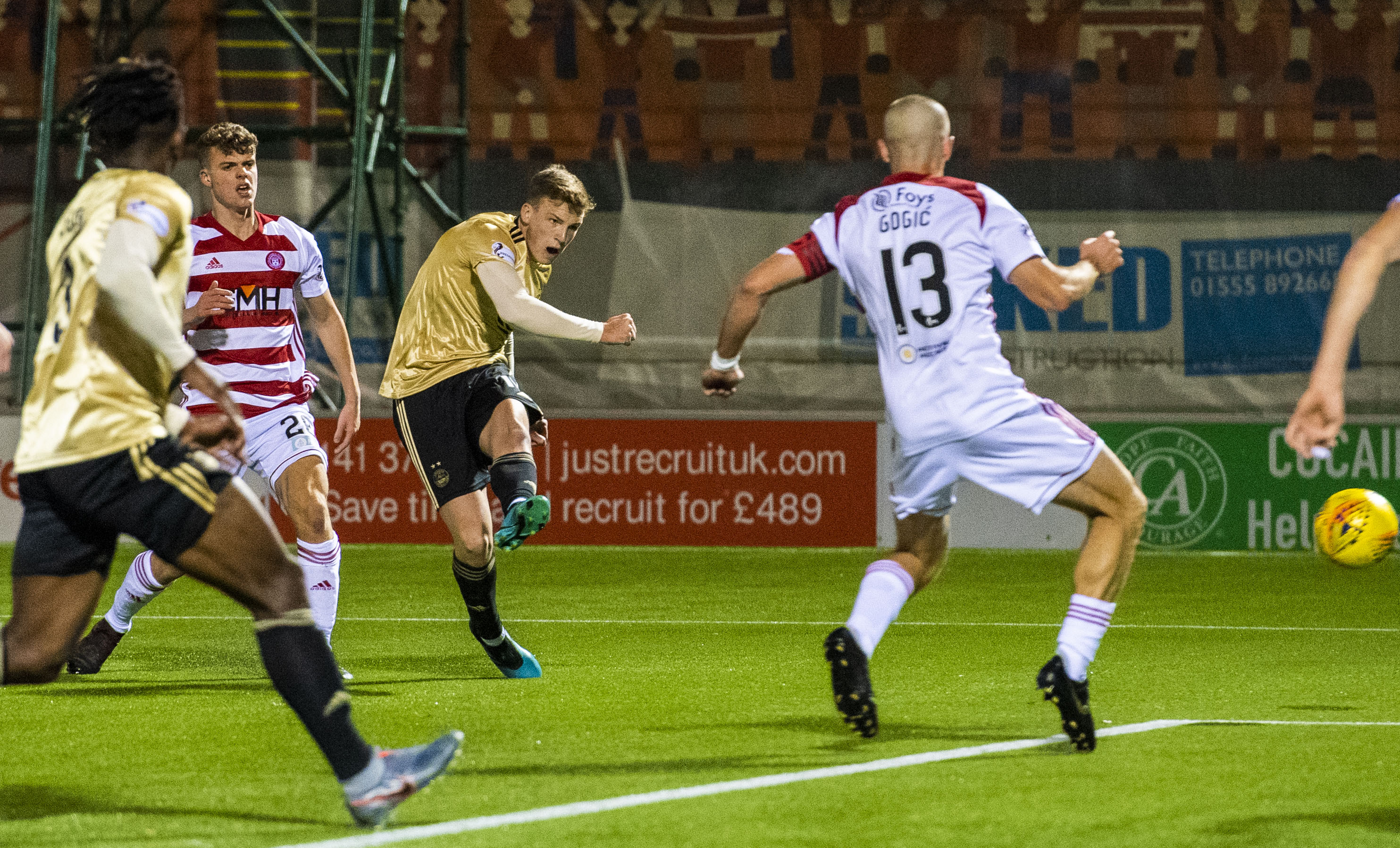 Aberdeen's Lewis Ferguson opens the scoring during a Ladbrokes Premiership match between Hamilton and Aberdeen at the FOY Stadium, on October 30, 2019.