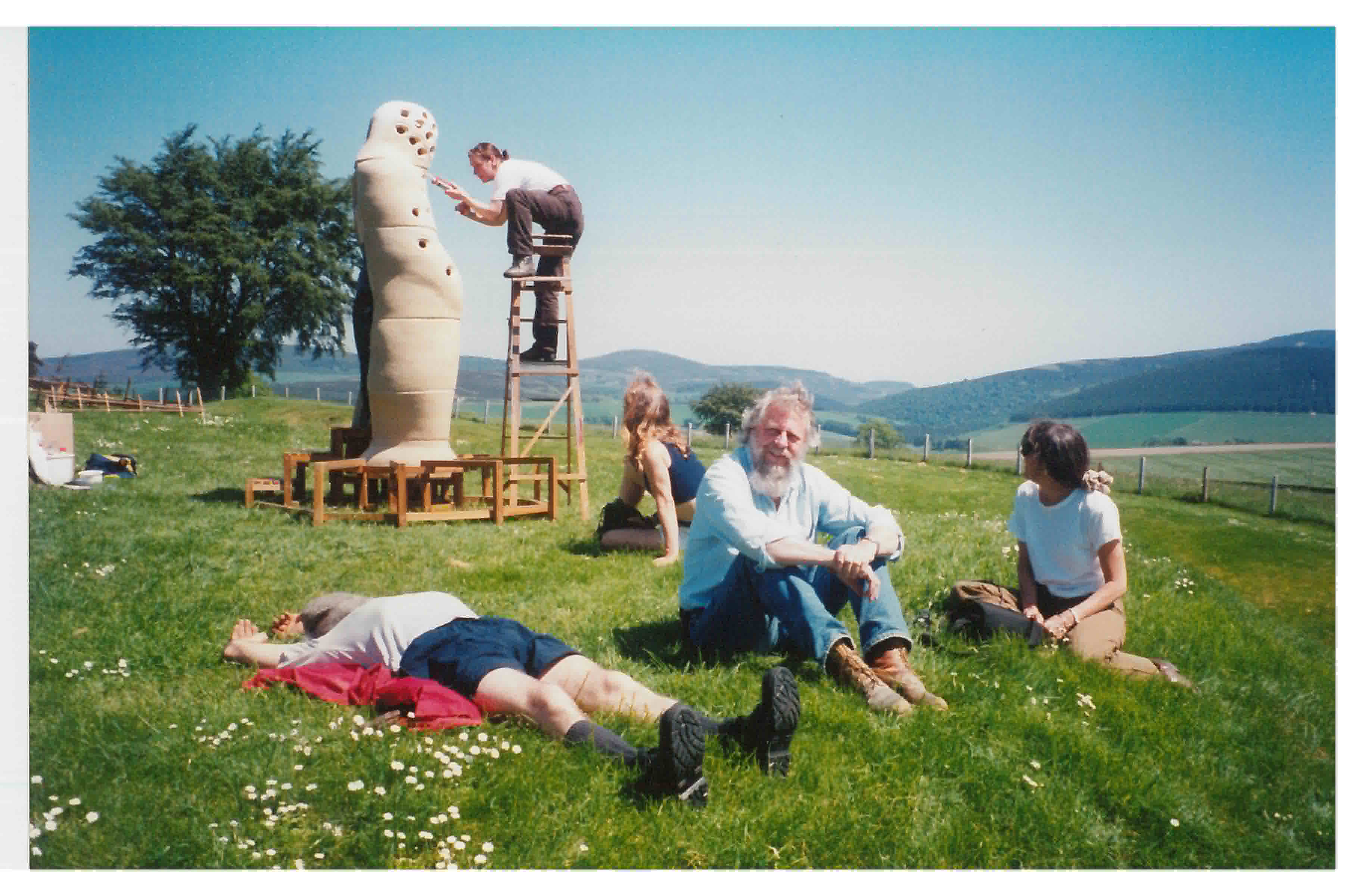 SSW chief technician Peter Smith, centre, with Peter Bevan, on ladder and other artists installing SS08 Granite Granite Carving Symposium (1995). Photo: Scottish Sculpture Workshop