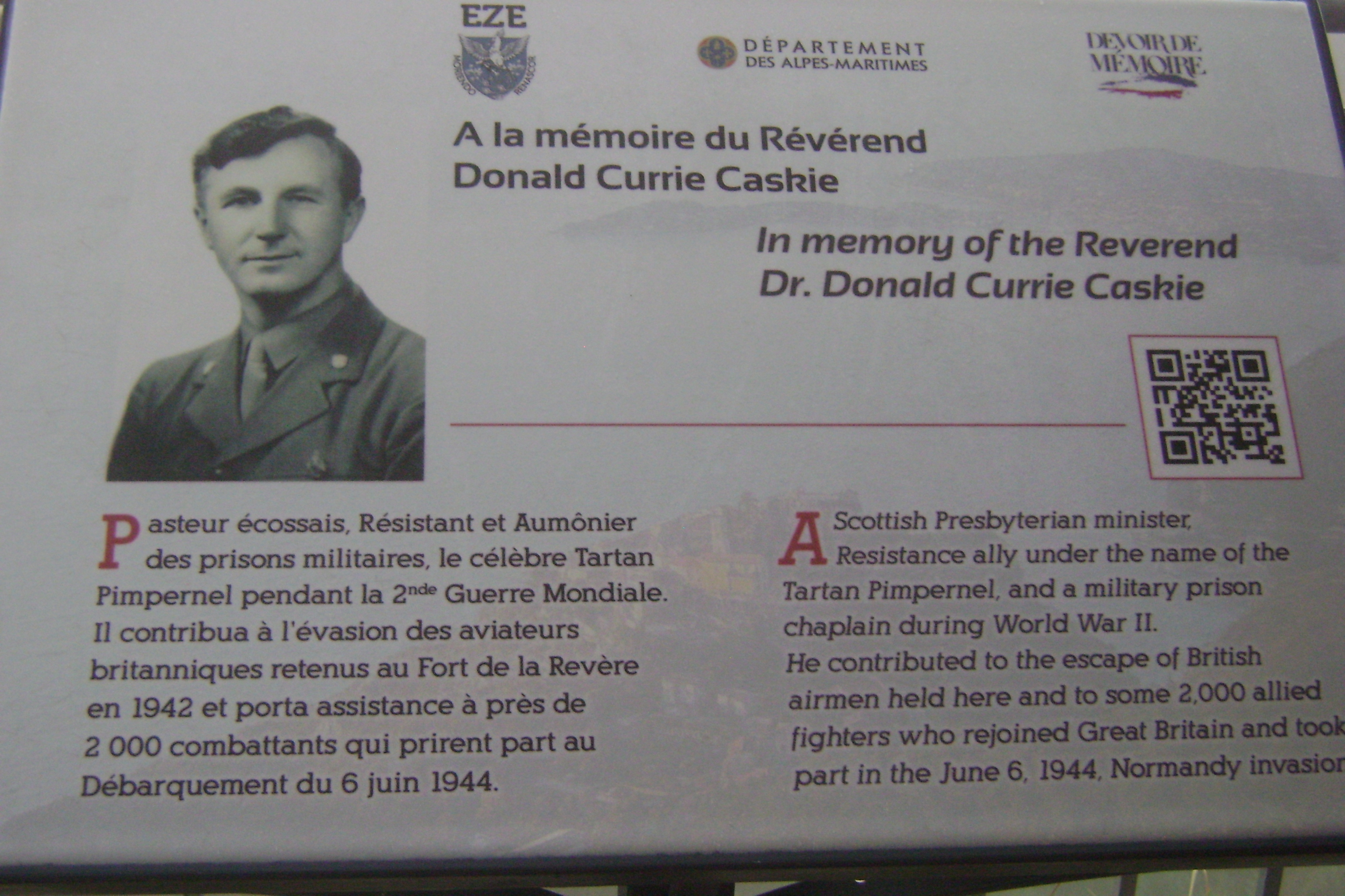 A new plaque has been unveiled in honour of Donald Caskie. Pic: Gordon Whyte.