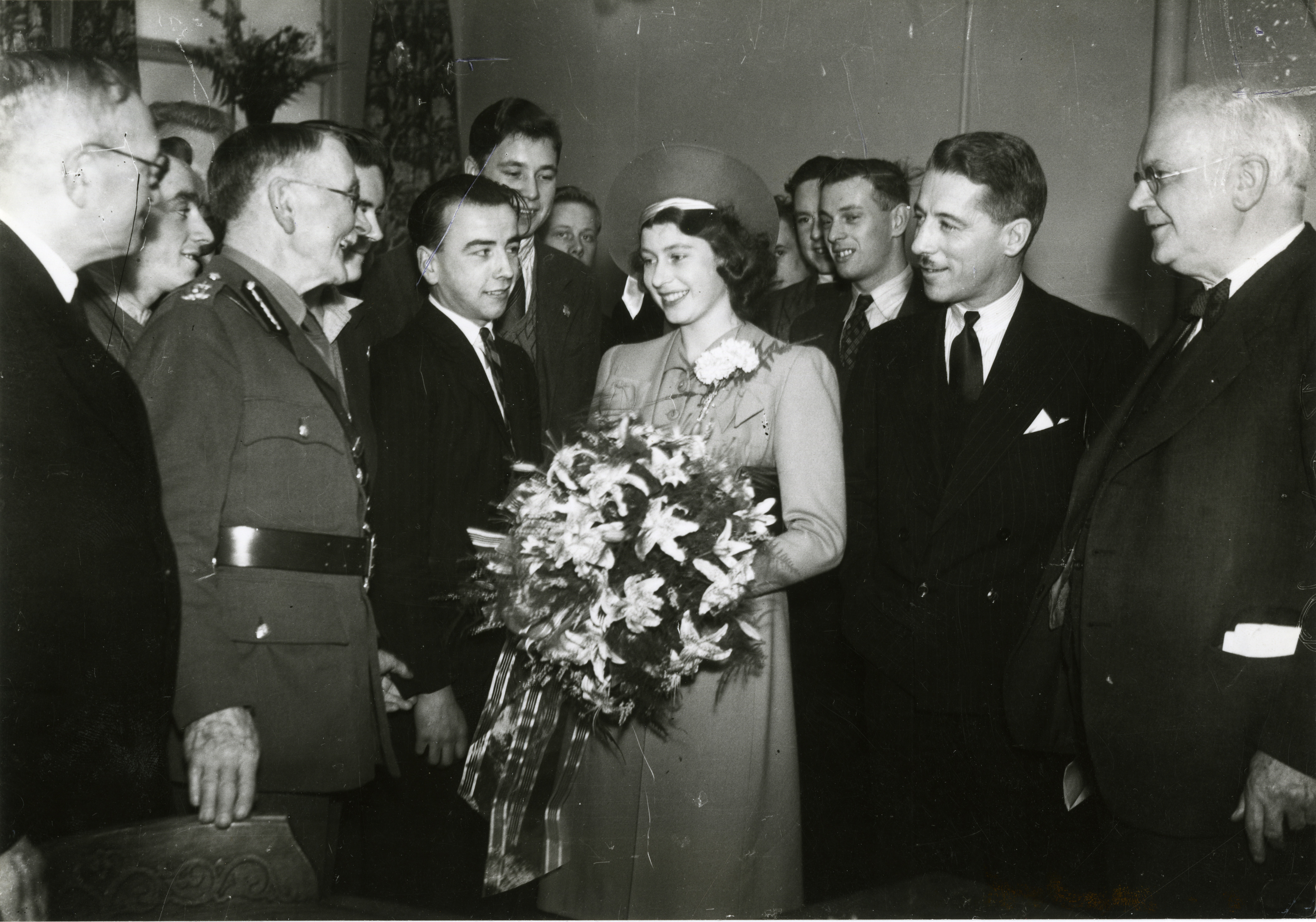 The Queen, on her first solo engagement, opening an extension to the Aberdeen Sailors Home in 1944.