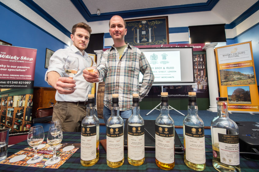 Whisky tasting in a hall near The Whisky Shop in Dufftown, which is part of the inaugural Whisky Colours Festival run by the owner of the shop to encourage visitors to area outside summer months. Pictured: Owner Mike Lord, right, with assistant reserve spirits manager Jonny McMillan.