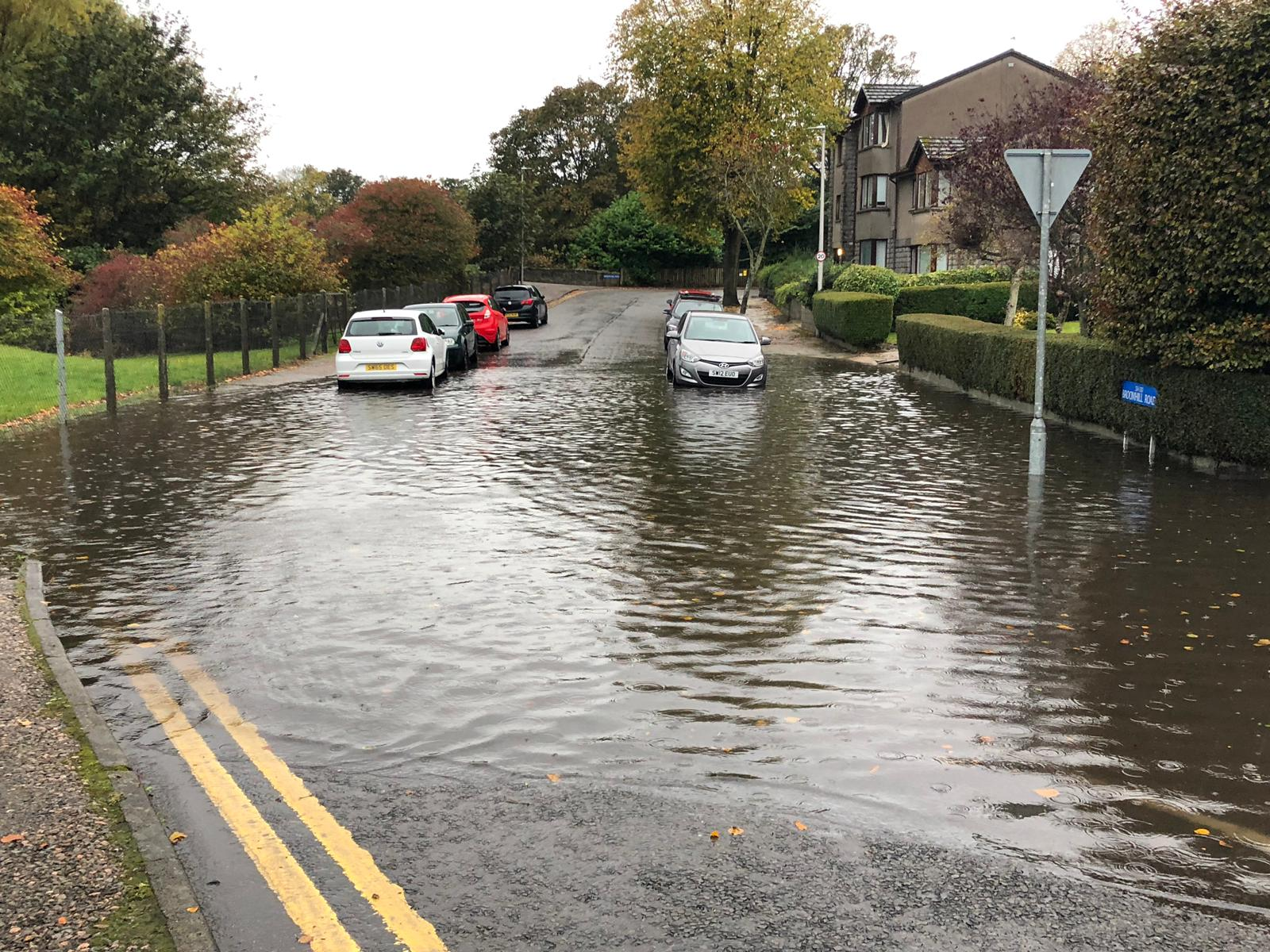 Broomhill Road in Aberdeen was badly flooded. Picture by Andy Skinner