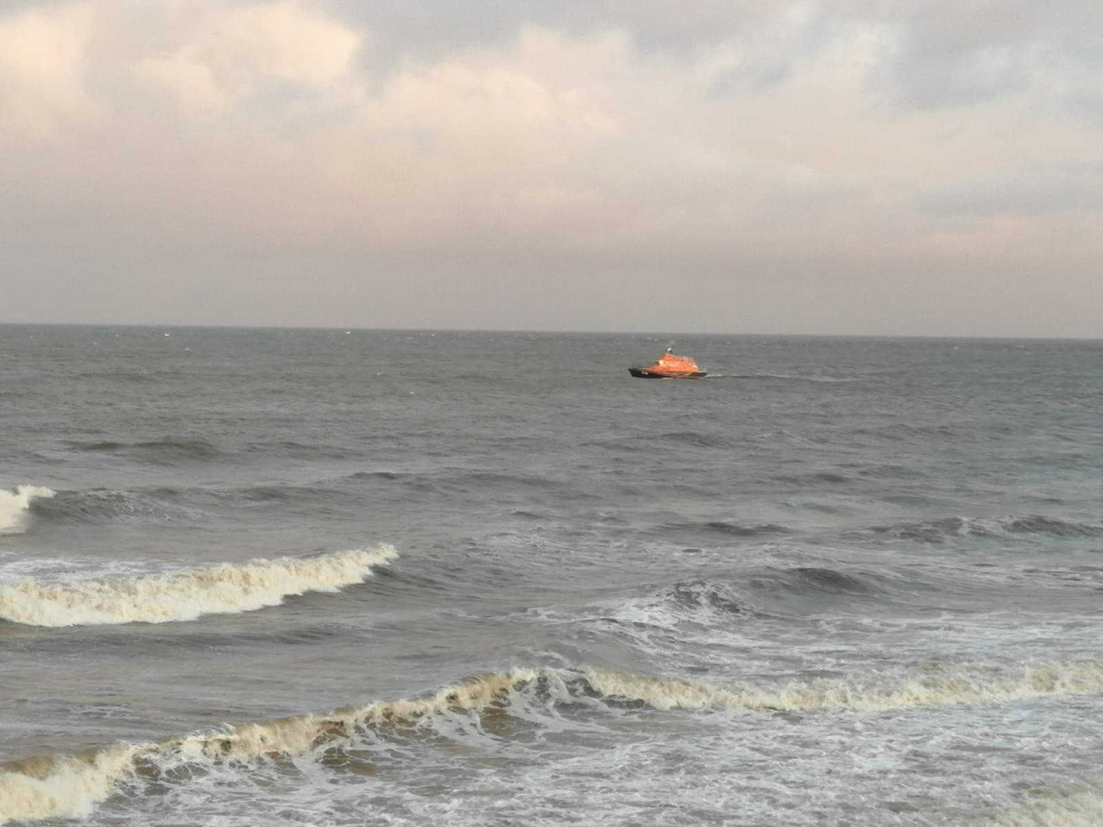 A lifeboat in the sea off Aberdeen during the search.
