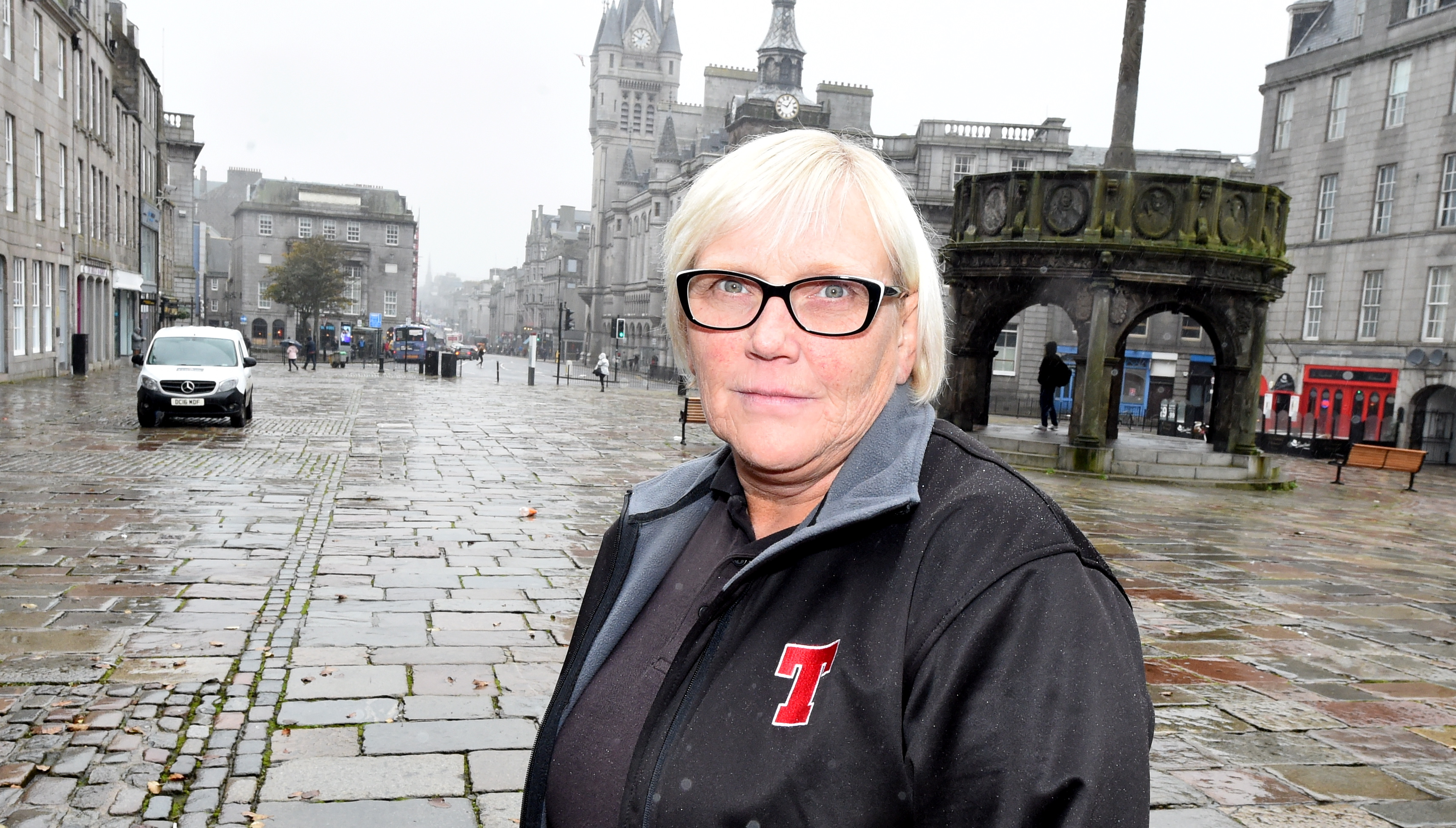 Carlton Bar manager Gloria McHattie is among those unhappy at the state of Aberden's Castlegate. Picture: Jim Irvine