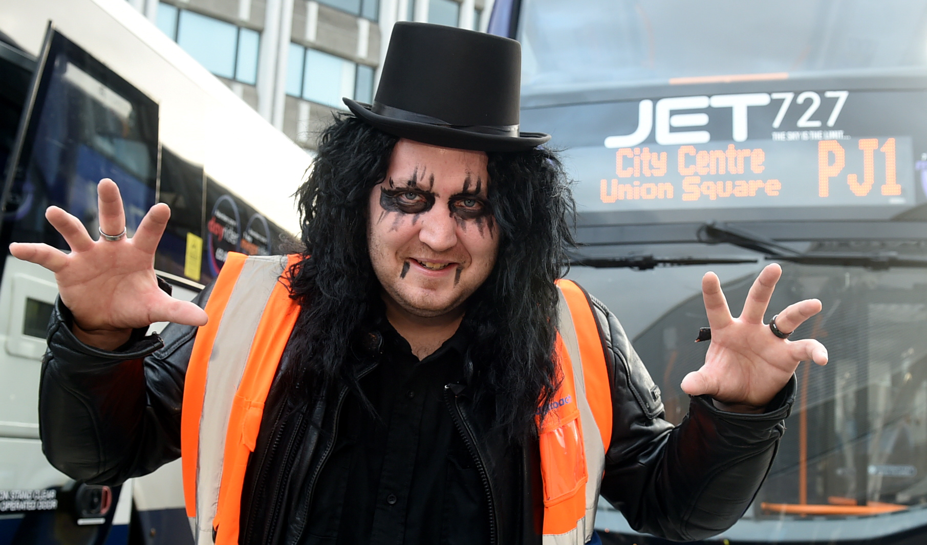 Mark Goodall has dressed as Alice Cooper for his shift ahead of the gig on Saturday at the P&J Live.
