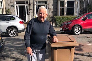 James Ellis and his garden bin.