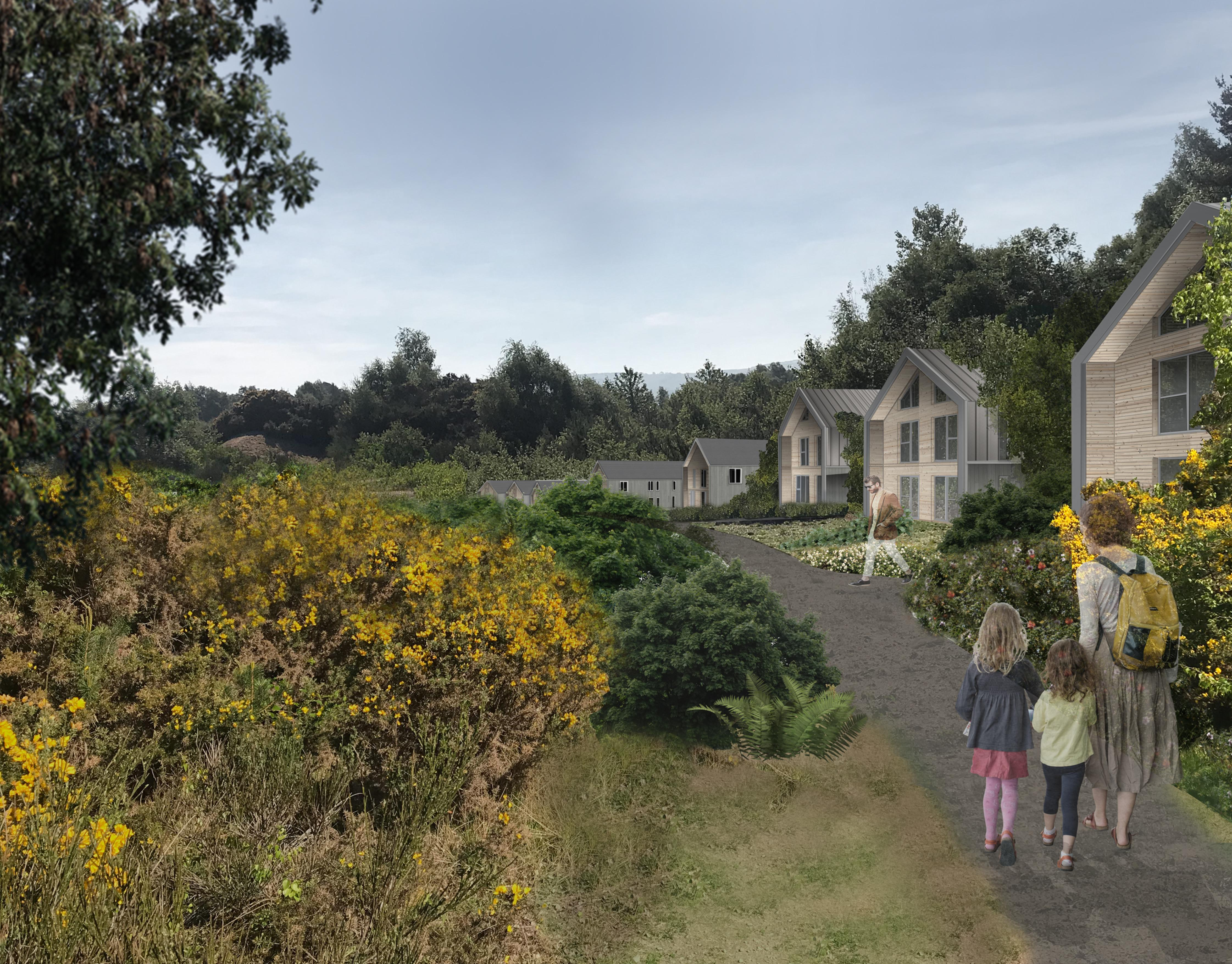 Artist impression showing the proposed holiday village at Logie Quarry, Kildary.