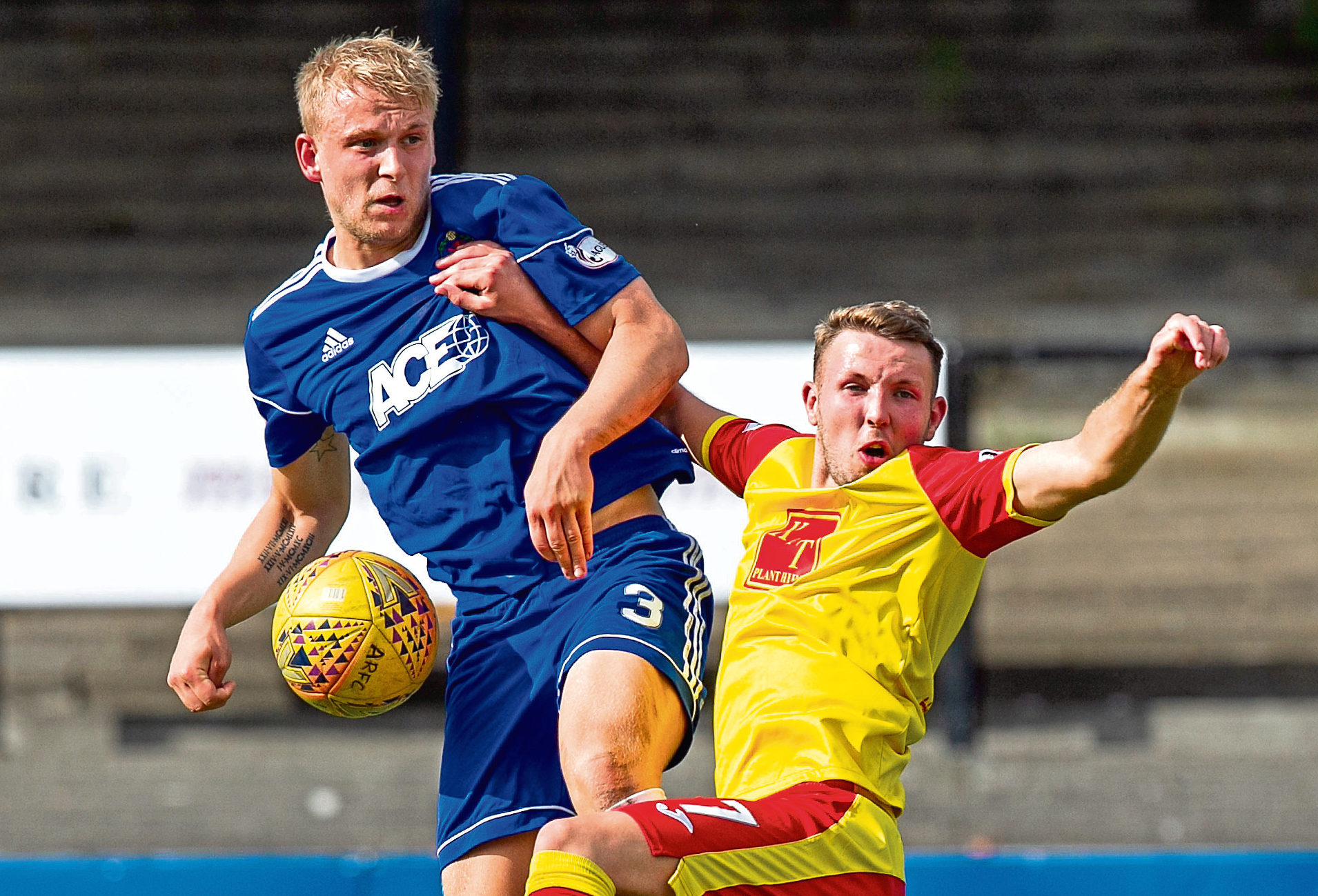 Harry Milne in action against Albion Rovers.