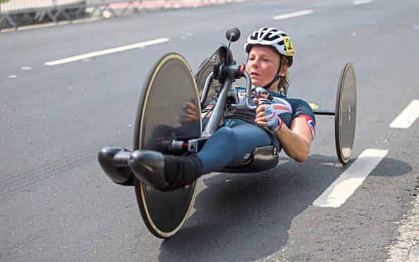 Karen Darke competing  at the Rio Paralympic Games 2016.