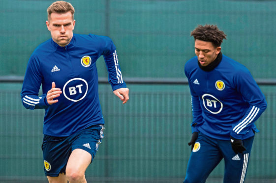 Scotland's Mikey Devlin during a training session at Oriam on November 12.